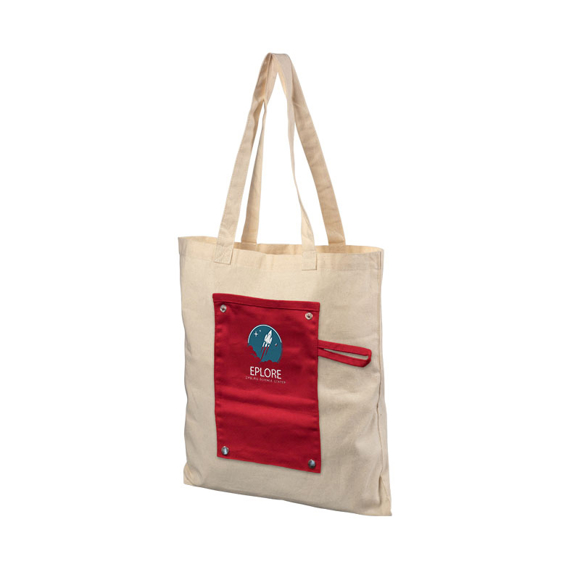Promotional natural cotton tote with red panel and company logo printed to the front