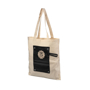Cotton roll-up tote bag with black panel and branded with a logo