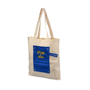 Natural cotton bag with blue roll-up panel