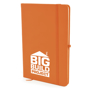 A5 soft touch notebook in orange with colour match ribbon, elastic closure strap and pen loop with 1 colour white print logo