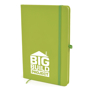 A5 soft touch notebook in green with colour match ribbon, elastic closure strap and pen loop with 1 colour white print logo