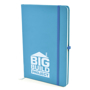 A5 soft touch notebook in cyan with colour match ribbon, elastic closure strap and pen loop with 1 colour white print logo