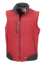 Softshell Bodywarmer in red with black panels and full front zip