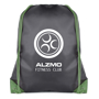 Spencer Drawstring Bag in black with green corners and string with 1 colour logo