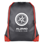 Spencer Drawstring Bag in black with red corners and string with 1 colour logo