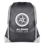 Spencer Drawstring Bag in black with white corners and string with 1 colour logo