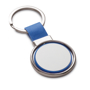 blue and silver spinning metal disc keyring
