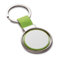 green and silver spinning metal disc keyring