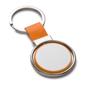 orange and silver spinning metal disc keyring
