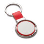 red and silver spinning metal disc keyring