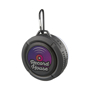 black splash bluetooth speaker with carabiner with full colour print to the front