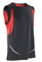 Sports Athletic Vest in black with red panels under arm and reflective spiro print