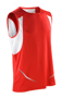Sports Athletic Vest in red with white panels under arm and reflective spiro print