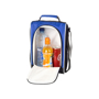 Blue cooler bag with zip down front panel