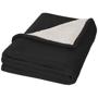 Springwood soft fleece and sherpa plaid blanket in black
