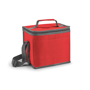 red square cooler bag with grey trim and coordinating handles