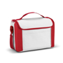 Red and white cooler bag with carry handle and shoulder strap