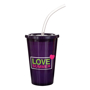 Black stadium drinks cup with matching lid and clear straw, personalised with a logo