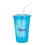 Drink cups with straw and lid in translucent blue