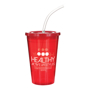 Stadium cup in red with matching lid and clear straw and large wrap around print