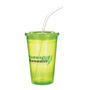 Translucent green stadium drinks cup with matching lid and clear staw