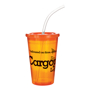 Drinks cup for events in orange with matching lid and clear straw