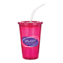 Magenta drinking cup with matching lid and clear straw