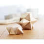 a wooden star brain teaser toy in two pieces