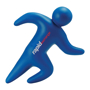 blue stress runner with corporate branding to front