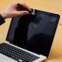 Swivel Webcam Cover in silver on laptop webcam