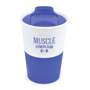 350ml double walled coffee cup in blue with white branding area
