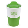 White take out mug with green silicone base and matching green sliding lid.