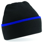 Teamwear Beanie in black with blue stripe