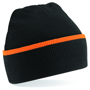 Teamwear Beanie in black with orange stripe
