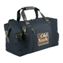 Capitol Duffel in navy and black leather handles and 4 colour print logo