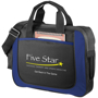 Business shoulder carry case in black and blue with a company logo printed on the front panel