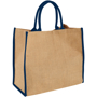Natural jute bag with blue trim and handles