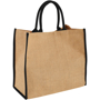 Natural shopping bag in jute fabric with black short handles and piping