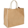 Jute shopper with white handles and matching edge trim