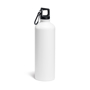 thermal metal bottle with carabiner clip to lid - white