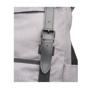 "Thomas 16"" Laptop Backpack in grey showing black buckle detail"
