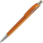 bright orange pen with push action button in silver and coordinating nose cone