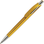 Ball pen with yellow body and silver push button and nose cone