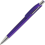 Purple ball pen with silver push button and nose cone