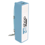 Power bank with blue trim and white flat surface printed with a company logo
