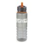 Translucent grey 800ml drinks bottle with built in drinking straw and orange trim