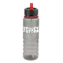 800ml plastic sports bottle in translucent grey with red straw and trim, ribbed bottom with smooth top to allow for a printed logo