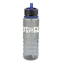 Promotional reusable bottle in dark grey with blue straw and trim detail