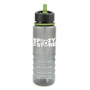 800 ml Translucent grey sports bottle with built in green straw and trim