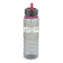 Translucent smoke 800ml drinking bottle with built in straw in pink and matching trim